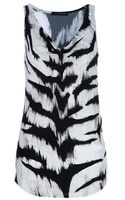 Alexander McQueen Black and White Tiger Striped Cowl Neck Tank - Lyst