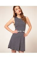 Asos Skater Dress In Stripe With Belt - Lyst