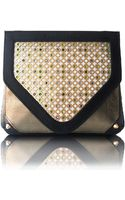 Poupee Couture Crystal Clutch Black Olive Leather - Lyst
