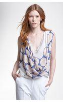 Diane Von Furstenberg Rina Print Draped Silk Top - Lyst