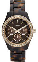 Fossil Womens Stella Chronograph Tortoise Shell Plastic Strap Watch - Lyst