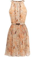 Oasis Bird Pleated Belted Dress - Lyst