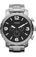 Fossil Mens Chronograph Nate Stainless Steel Bracelet  - Lyst