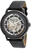 Kenneth Cole Mens Automatic Skeleton Dial Black Leather Strap Watch  - Lyst