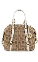 Michael Kors Monogram Bedford Medium Satchel - Lyst