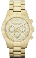 Michael Kors Mens Chronograph Gold Tone Stainless Steel Bracelet 45mm - Lyst