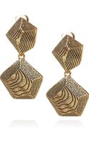 Oscar de la Renta 24karat Goldplated Woodeffect Clip Earrings - Lyst
