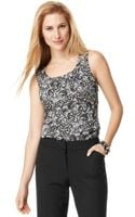 Tahari Sleeveless Pleated Lace Printed Scoop Neck Blouse - Lyst