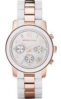 Michael Kors Rose Gold Tone Stainless Steel and White Silicone Bracelet 39mm - Lyst