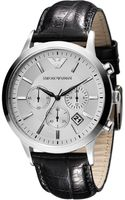 Emporio Armani Mens Chronograph Black Leather Strap Watch  - Lyst