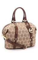 Michael by Michael Kors Medium Bedford Monogram Satchel, Beige/mocha - Lyst
