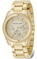 Michael Kors Michael Gold Plated Stainless Steel Chronograph Watch with Clear Stones On Bezel 39 Mm - Lyst