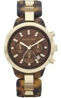 Michael Kors Womens Chronograph Gold Tone Stainless Steel and Brown Acetate Bracelet 43mm - Lyst