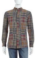 Tailor Vintage Patch work Plaid Shirt Khaki - Lyst