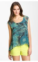 Bobeau Watercolor Print Blouse with High Low Hem - Lyst