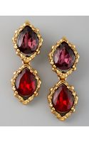 Oscar de la Renta Double Drop Clip Earrings - Lyst