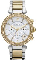 Michael Kors Womens Chronograph Parker Two Tone Stainless Steel Bracelet Watch  - Lyst