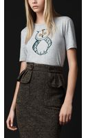 Burberry Prorsum Owl Detail Cotton Tshirt - Lyst