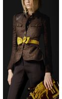 Burberry Prorsum Leather Detail Herringbone Field Jacket - Lyst