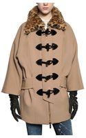 DSquared2 Weasel Fur Collar Stretch Wool Cady Coat - Lyst