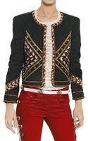 Isabel Marant Embroidered Cotton Denim Jacket - Lyst