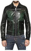 DSquared2 Contrasting Front Leather Jacket - Lyst
