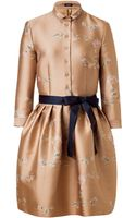 Jil Sander Navy Pale Rose Belted Sateen Dress - Lyst