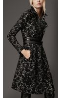 Burberry Long Printed Wool Trench Coat - Lyst