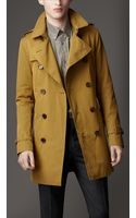 Burberry Mid-length Cotton Gabardine Trench Coat - Lyst
