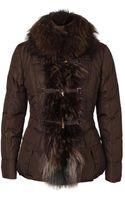Moncler Grillon Fur Trimmed Duffle Jacket - Lyst
