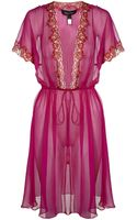 Jenny Packham Lace Trim Silk Robe - Lyst