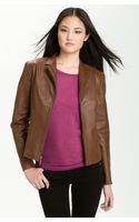 Cole Haan Notch Collar Leather Jacket - Lyst