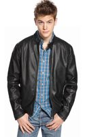 Kenneth Cole Reaction Faux Leather Motorcycle Jacket - Lyst