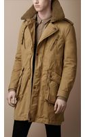Burberry Brit Shearling Collar Heritage Jacket - Lyst