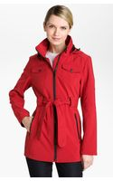 London Fog Belted Jacket with Detachable Hood - Lyst