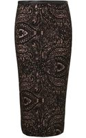 Topshop Black Paisley Tube Skirt - Lyst