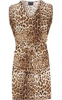 Class Roberto Cavalli Leopardprint Satinjersey Dress - Lyst