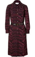 Emilio Pucci Bordeaux Pleated Dress with Belt - Lyst