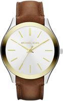 Michael Kors Midsize Chocolate Leather and Golden and Silver Color Stainless Steel Slim Runway Threehand Watch - Lyst