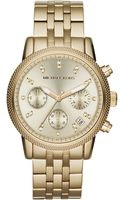 Michael Kors Mid Size Golden Stainless Steel Ritz Chronograph Glitz Watch - Lyst
