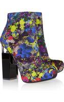 Nicholas Kirkwood Geometricheel Printed Silkcovered Leather Ankle Boots - Lyst