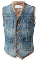 Kolor Vintage Denim and Fur Waistcoat - Lyst