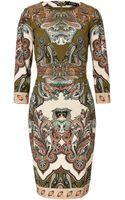 Etro Olive Greenecrumulti Wool Dress - Lyst