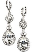Givenchy Silver Tone Crystal Double Drop Earrings - Lyst