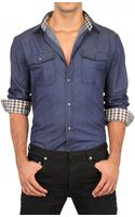 Aquascutum Stretch Washed Denim Shirt - Lyst
