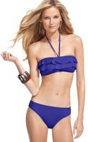 Kenneth Cole Reaction Bandeau Ruffled Bikini Top - Lyst