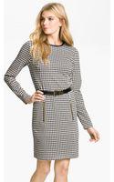 MICHAEL Michael Kors Leather Trim Belted Dress - Lyst
