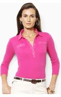 Lauren by Ralph Lauren Marlee Three-Quarter Sleeved Polo - Lyst