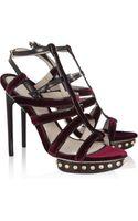 Jason Wu Velvet and Leather Studded Sandals - Lyst