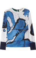 Preen By Thorton Bregazzi Swoosh Printed Silk and Wool Top - Lyst